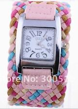 Korea Fashion Rope Braided Leather Cord Bracelet Ladies Watch