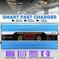 20/30/40A Car Battery Charger Jump Starter LCD Acid for Car Motorcycle Caravan