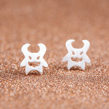 Brushed 925 Sterling Silver Plated Cute Little Happy Devil Stud Earrings Gift