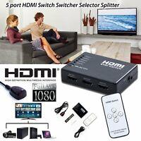 5 port Commutateur HDMI HUB 1080p Switch Splitter + Télécommande IR Pr PS3/HDTV