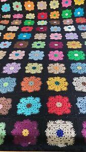 Vintage Crochet Granny Handmade Wool Blanket/ Throw /Bedspread 145cmx210cm 60s