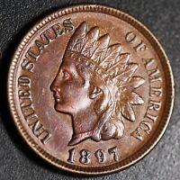 1897 INDIAN HEAD CENT -With LIBERTY & 4 DIAMONDS - AU UNC Details