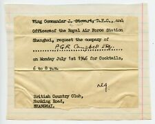 Wing Commander Royal Air Force invit. to Canada Consul in Shanghai China 1946