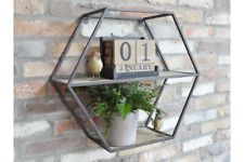 Hexagonal Industrial Metal Shelving Unit | Geometric Wall Display Wooden Shelf