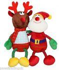 New Festive Hug Tugz Santa Reindeer Plush Christmas Dog Toy Rope Legs Bright