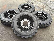 4 NEW 10-16.5 Skid Steer Tires on Black Wheels/Rims - 10 PLY- for Bobcat & more