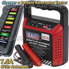 Sealey automático 6v/12v 7.5 Amp Auto Moto van Cargador De Batería + Tester Alternador