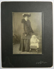 Antique Victorian Photo Woman w/ Young Child in Carriage, Smith's Falls Ontario