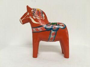 Vintage G A Olsson Sweden 10cm Red Dala Horse with Original Label