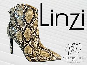 Linzi Women's Boots Shania Snake Print Ankle Heeled Lightweight Bootie