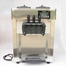 STO 110V Commercial Auto Frozen Soft Ice Cream Cone Maker Machine 3 Flavor 1700W