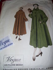 1948 VOGUE COUTURIER DESIGN #444 - LADIES STUNNING SWING COAT PATTERN w/LABEL 16