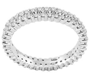 2 Row Eternity Wedding Ring SI1 G 1.02 Ct Round Diamond 14k White Gold Size 8.50