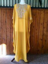 Moroccan Dubai abaya kaftan caftan Mustard beads sequins jewels maxi dress