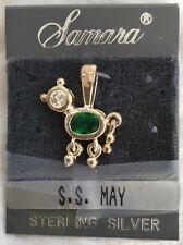 New Pet Dog/Cat Birthstone Pendant Charm Sterling Silver (0.925) May Emerald Gem