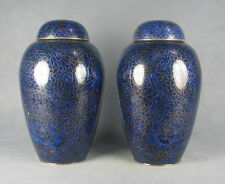 China Old blue color cloisonne flower design pair Cloisonn bottle pot jar