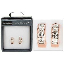 GIFT BOXED Equilibrium Rose Gold Plated Crystal Hoop Stud Earrings Diamante Gems