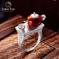Brown Amber Teapot Large Stone Ring Solid 925 Sterling Silver Jewelry for Women