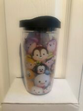 EUC Disney Pixar Tsum Tsum Tervis Tumbler 16oz Black Lid Mickey Donald Pooh