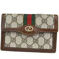 Auth Gucci Sherry GG Pattern Women's PVC,Leather Wallet (bi-fold) Brown 07GC622