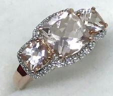 9k cushion cut MORGANITE and Diamond RING_375 rose gold_trilogy