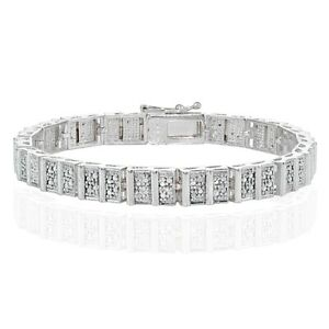 Genuine Diamond Accent Rectangle and Bar Tennis Bracelet in Silver Tone