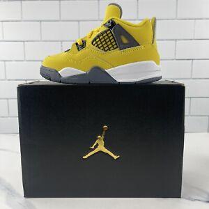 Nike Air Jordan 4 Lightning Size 8C Toddler TD  Retro Tour Yellow Dark Blue Grey