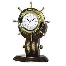 Bey-Berk Brass Ships Wheel Clock w/Rope on Teakwood Base