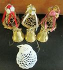 7 Christmas BELL Ornaments Primitive Vine 3 Gold Twig 1 Starched 3 Gilt pinecone