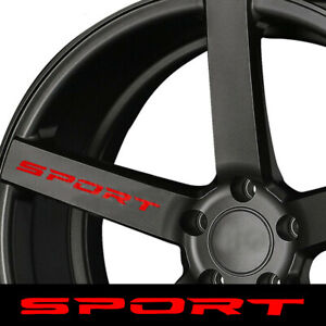 4x Red SPORT Car Rims Wheel Hub Racing Stickers Graphic Decals Strip Accessories