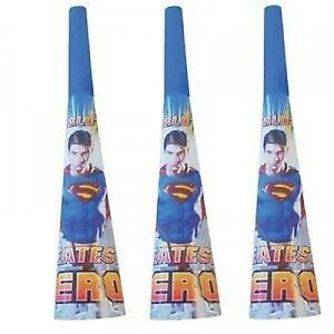 Superman Party Horns/Blowers/Noise Makers Pack of 8 - Superman Party Supplies