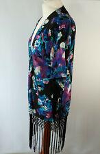 Fringed Kimono Open Front Dark Floral Boho Tassel Girls On Film Black Size UK 10