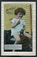 C1920s Studio Birthday Card: Young Boy on a Toy Steam Engine
