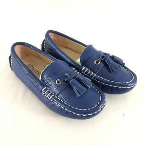Shenn Toddler Boys Loafers Slip On Faux Leather Tassel Blue Size 28 US 11