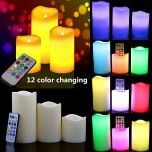 3X BATTERY OPERATED LED CANDLES COLOUR CHANGING FLAMELESS LIGHT UP CANDLE REMOTE