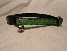 "Green & Gold Plaid 3/8"" Adjustable Pet Collar"