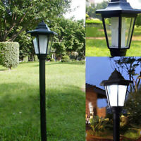 Post Pole Light Outdoor Garden Driveway Solar Powered Yard Lantern Lamp Outside