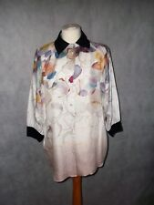 STILLS watercolour washed crumple surface silk shirt size 14