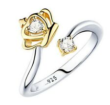 NEU 925 Sterling Silber Damen Ring Zirkonia Steinen vergoldet WEIHNACHTSGESCHENK