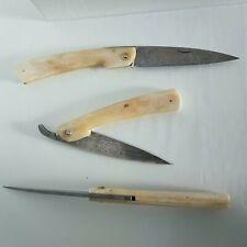 Couteau de poche lame damas de 186 couches artisanal neuf manche en os