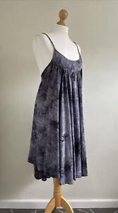 LAUREN VIDAL Stunning Grey/blue Tie Dye/checked Cotton Pinafore Dress Size Med