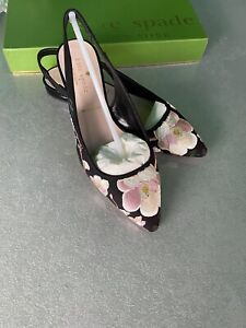 Kate Spade New York Barnie Black Embroidered Open Heel Flats,Size UK3/US5.5