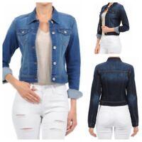 Women's Long Sleeve Basic Button Down Wash Denim Jean Jacket (S-l) #90117
