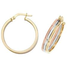 9ct Tri Colour Yellow Rose & White Gold 20mm Flat Hoop Earrings 2.1g Hallmarked