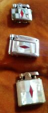 mother of pearl inlaid cigarette lighters group of 3 japan 1950 craftsmanship+++