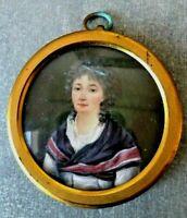 Miniature aquarelle représentant une le portrait d'une femme , époque Empire