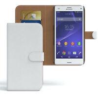 Tasche für Sony Xperia Z3 Compact Flip Case Schutz Hülle Cover Weiß