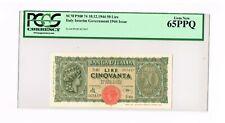 ITALY :  BANCA de ITALIA   50  LIRE  10.12.1944    PICK 74  GRADED  PCGS 65PPQ