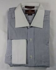 Nordstrom Cotton White Black Stripe White Collar Mens Dress Shirt Classic 15  34