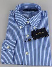 Polo Ralph Lauren Dress Shirt Mens 16 40 41 Blue White Navy Pony Cotton